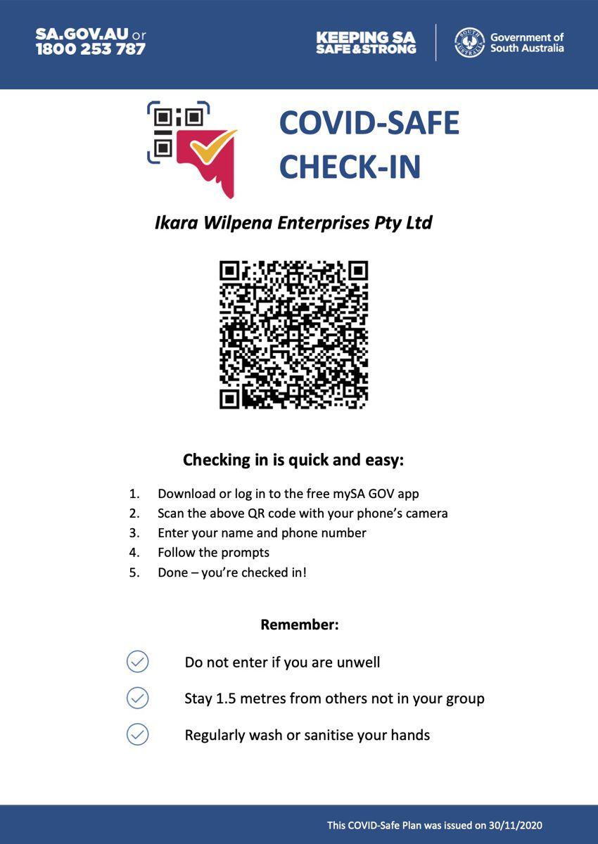 Covid Safe Check In Wilpena