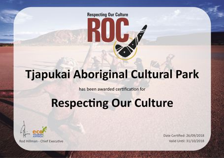 2018 Roc Respecting Our Culture Certificate Tjapukai Aboriginal Cultural Park