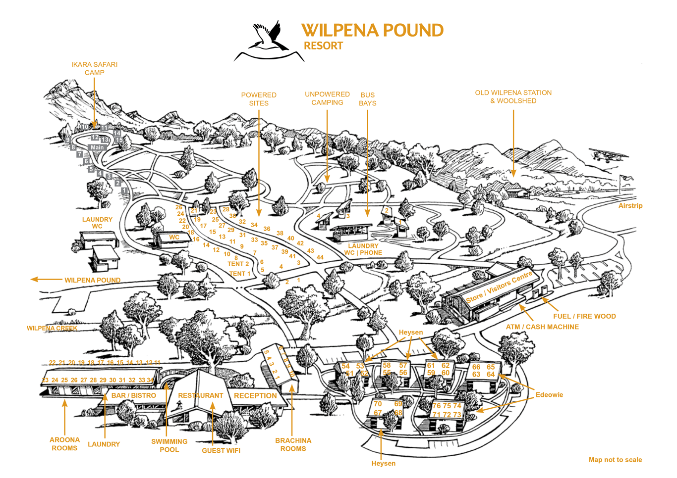 Rooms Map Wilpena Pound Resort Sep 2018