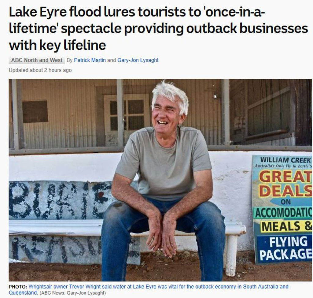 Lake Eyre flood lures tourists to once in a lifetime spectacle